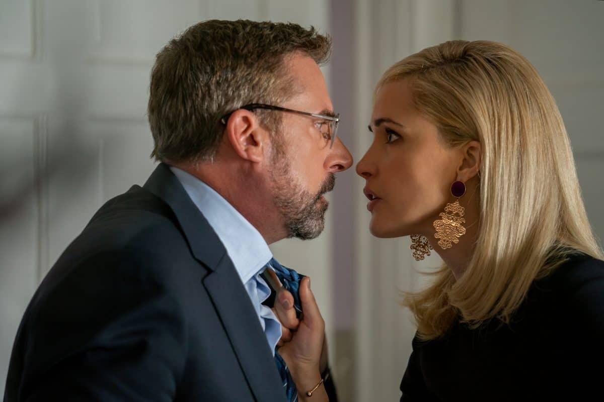 Steve Carell als Gary Zimmer and Rose Byrne als Faith Brewster in IRRESISTIBLE, haben etwas zu klären.