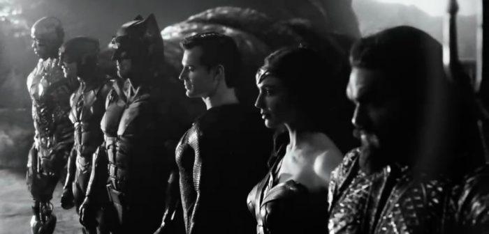 Ein Poster zu Justice League in schwarz weiß