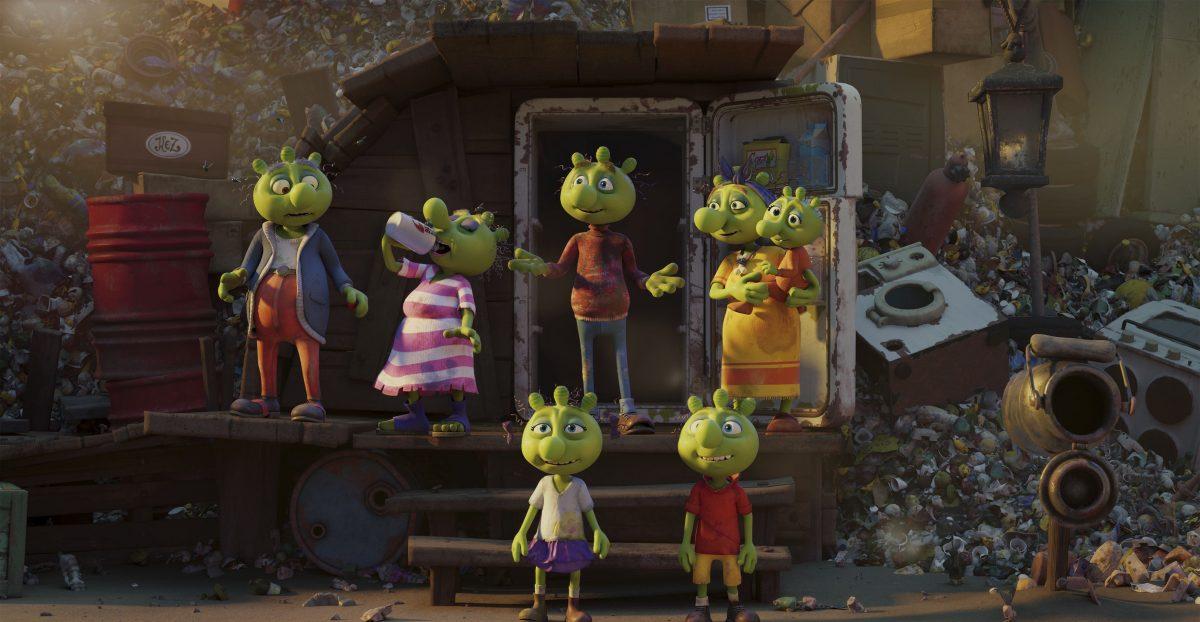 Olchi-Opa, Olchi-Oma, Olchi-Papa, Olchi-Mama, Olchi Baby und die Olchi-Kinder Motte und Messi vor der neuen Wohnung auf der Müllkippe.