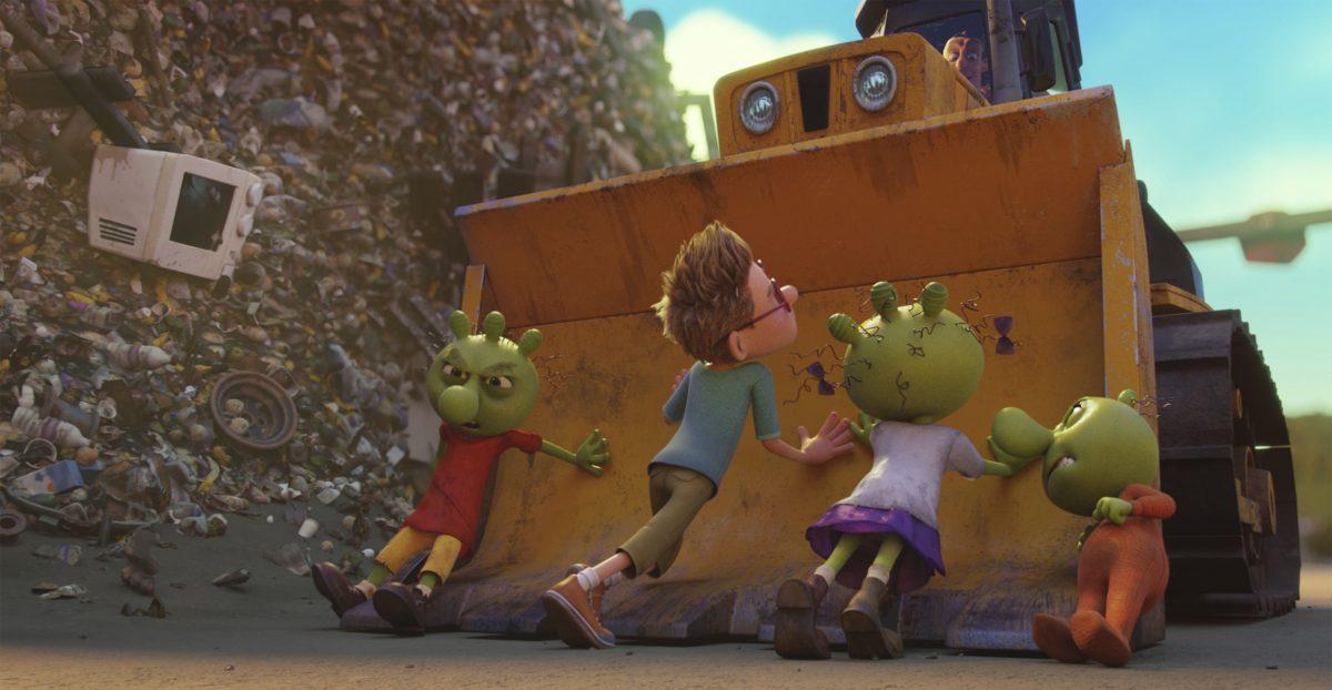 Die Olchi-Kinder und Max versuchen, die Räumung der Müllkippe zu verhindern.