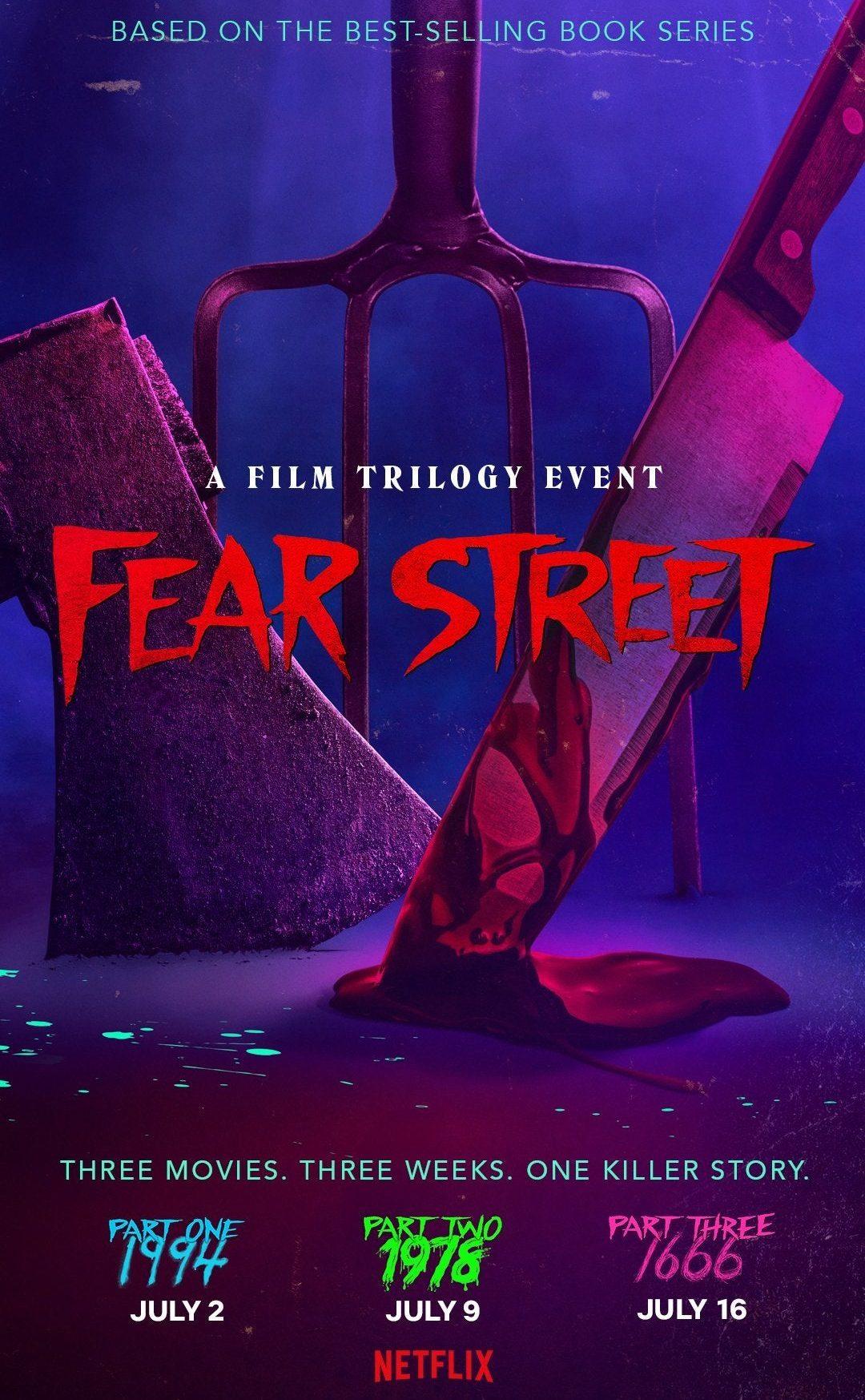 Poster mit der Aufdruck Fear Street. Netflix bring 3 Horrorfilme Uncut im Juli.