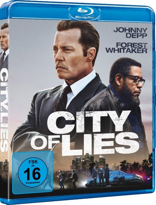 Johnny Depp und Forest Whitaker auf dem Cover der Blu ray zum Film City of Lies